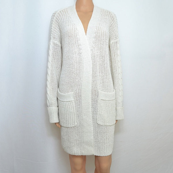 Winter pockets white sweaters knitted cardigans