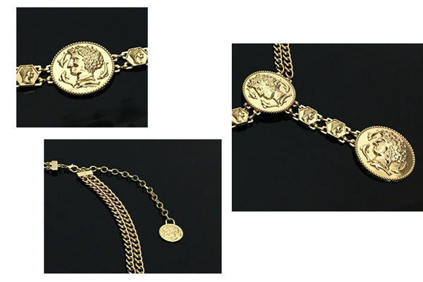 Golden Coin dolphins metal waist belts female Apparel accessories