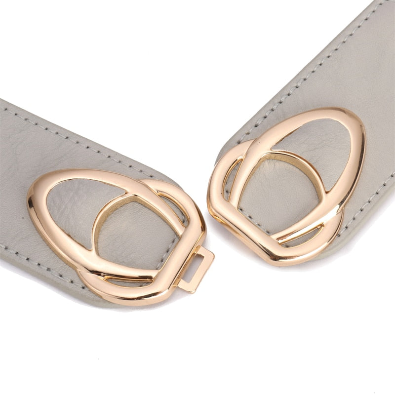 PU Leather Elastic Wide Belt for Women Stretch Thick Waist Belt for Dress