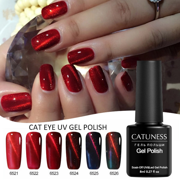 8ml Charm Red Fire 3D Gel Lacquer Cat's Eye UV Gel Nail Polish