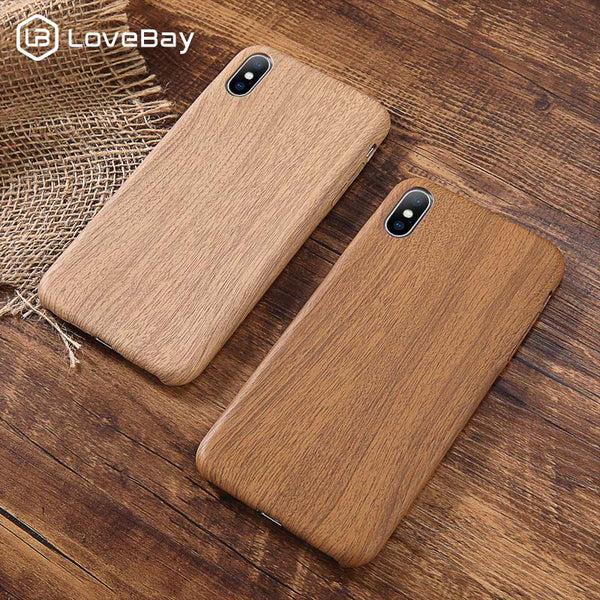 Lovebay PU Case Cover For Iphone 6 6S 7 7plus 8 Plus Wood Grain For Iphone XS Max XR X Luxury Back Cover