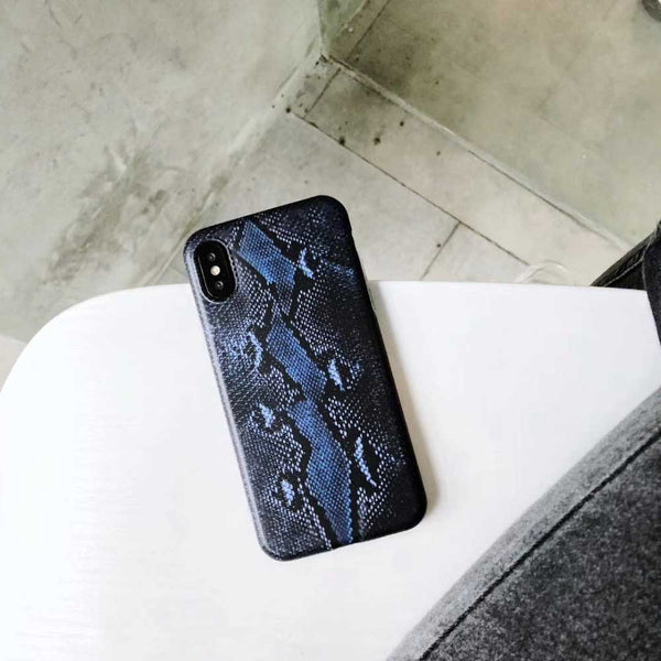 Custodia per cellulare con texture pelle di serpente per iPhone 7 8 6 6 XNUMXS Plus X XR XS MAX