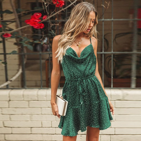 Green Polka Dot Stain Stylish Party Dress