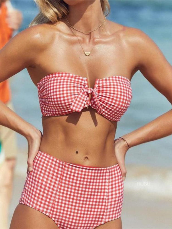 Sexy Retro Plaid High Waist Bikini 2019 Swimwear Women Swimsuit Female V Wire Bandeau Swim Bathing Suit Biquini Bathers