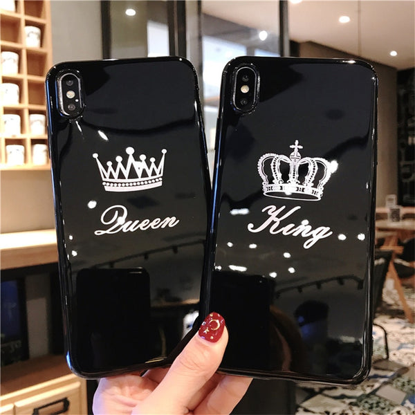 Custodia per cellulare 6 6 7 8 Plus XR XS Max Letter Cover posteriore King Queen