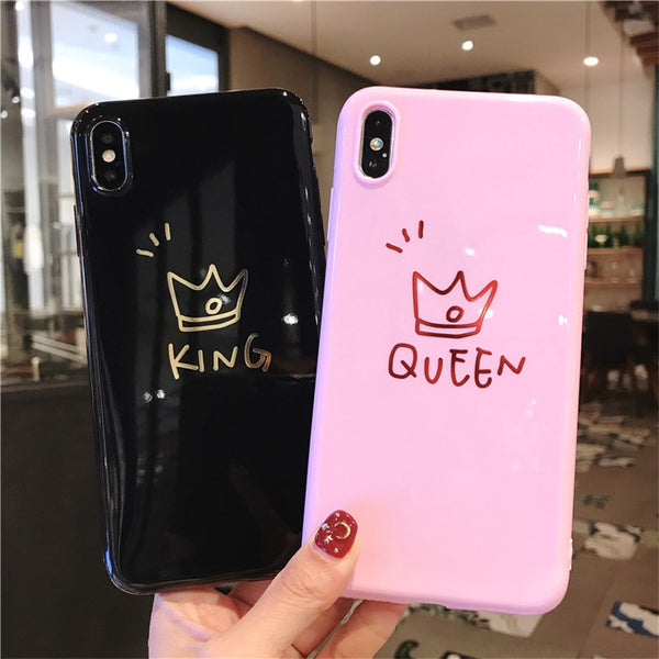 Phone Case for iPhone 6 6s 7 8 Plus  XR XS Max Letter King Queen Back Cover