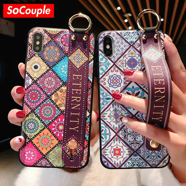 Strap Soft TPU Phone Case For iphone 7 8 6 6s plus Case For iphone X Xs max XR