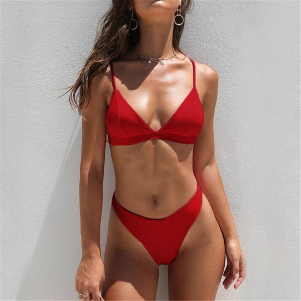 Mid Waist New Summer Women Two Pieces Bikini Set
