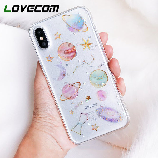 Custodia per iPhone XS XR XS Max X 5 5S 6 6S 7 8 Plus X Planet Star Transparent