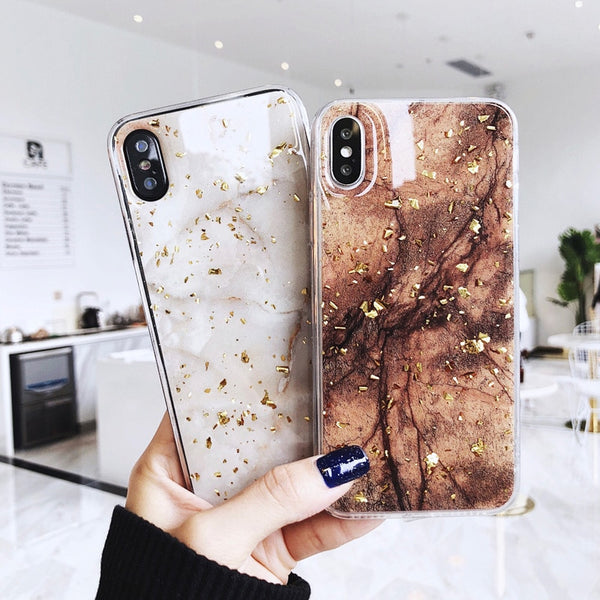 Gold Foil Bling Marble For iPhone X XS Max XR Phone Case Soft TPU Cover For iPhone 7 8 6 6s Plus