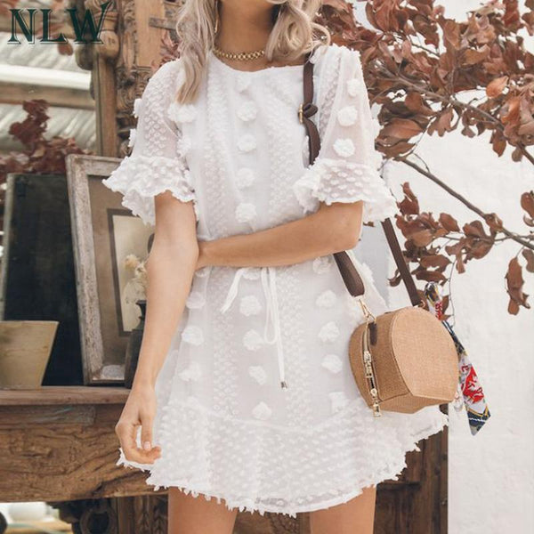 2019 Summer New Fashion White Lace up vestido corto