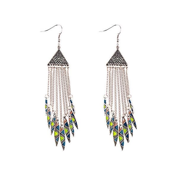 2019 Women's Geometric Alloy Long Chain Tassel Dangle Earrings