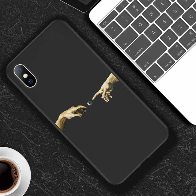 Phone Case For iPhone X XR XS Max 7 8 6 6s Plus 5 5s SE 10 Silicone Cases Statue Soft TPU Back Cover