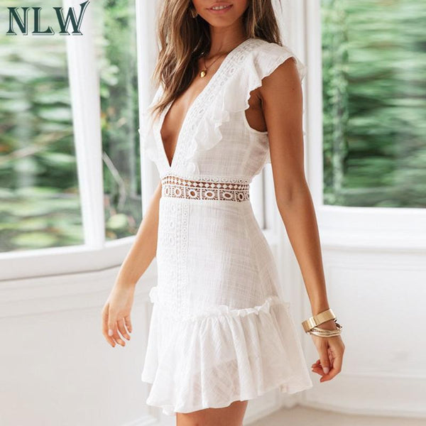 Elegant White Embroidery Short Dress 2019