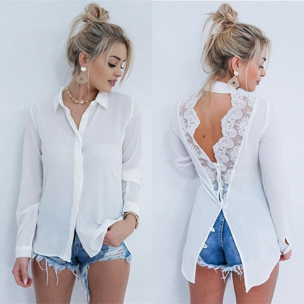 Backless Lace Patchwork White Shirt Damen Tops und Blusen