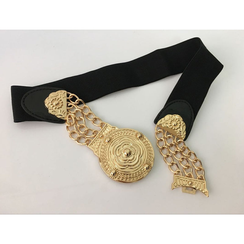 2019 Women Flower Floral Elastic Wide Gold Metal Belt Per Abito