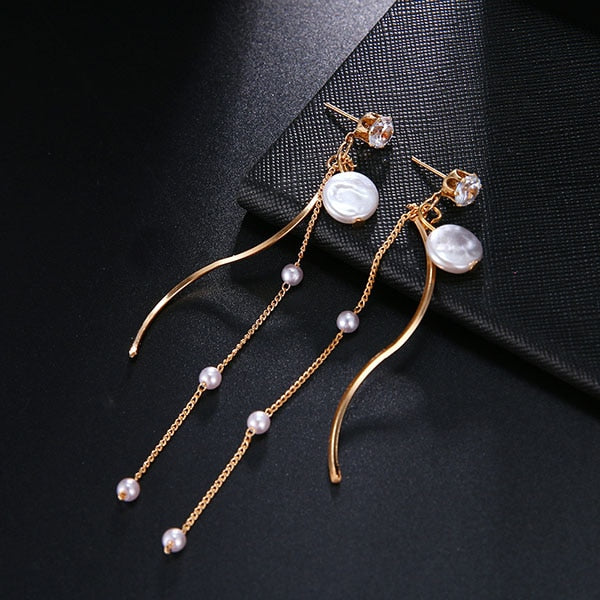 Pearls String Statement Drop Earrings For Wedding Party Gift
