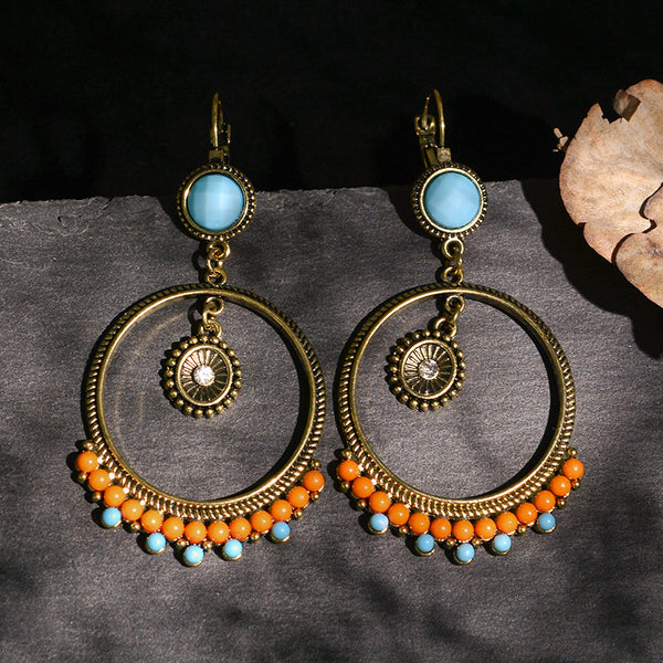Bohemia Ethnic Vintage Orange Beads Women Earrings