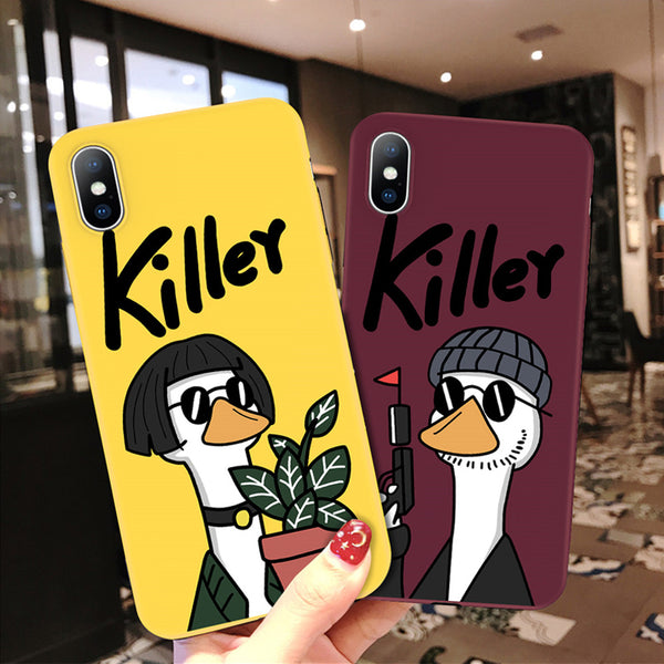 iPhone 6 6s 7 8 Plus X XR XS Max 5 5S SE Phone Case Cute Cartoon Killer Giraffe Cat Soft TPU Phone Case