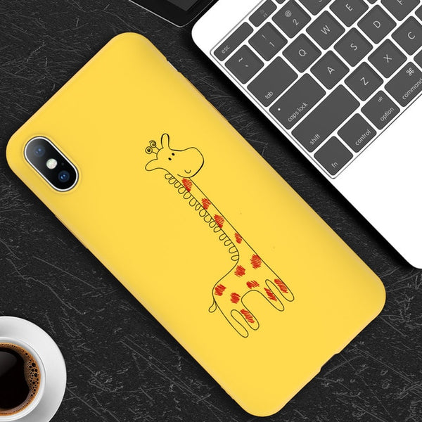 iPhone 6 6 7 8 Plus X XR XS Max 5 5S SE Cassa del telefono Cute Cartoon Killer Giraffa Cat TPU Cassa del telefono