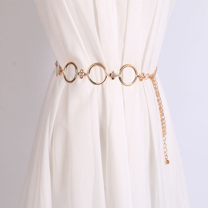 2019 Fashion Metal Waist Chain Gold Plated Belt for Dresses