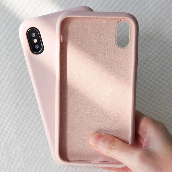 Funda de silicona simple de color sólido para iPhone 6 6s 7 8 Plus iPhone XS Max X XR