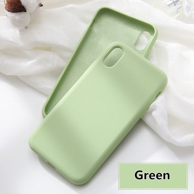 Simple Solid Color Silicone Phone Case For iPhone 6 6s 7 8 Plus iPhone XS Max X XR