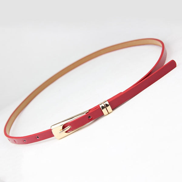 8 Colors Fashion Thin Pu Leather Belt Female Red Brown Black White Yellow Waist Belts