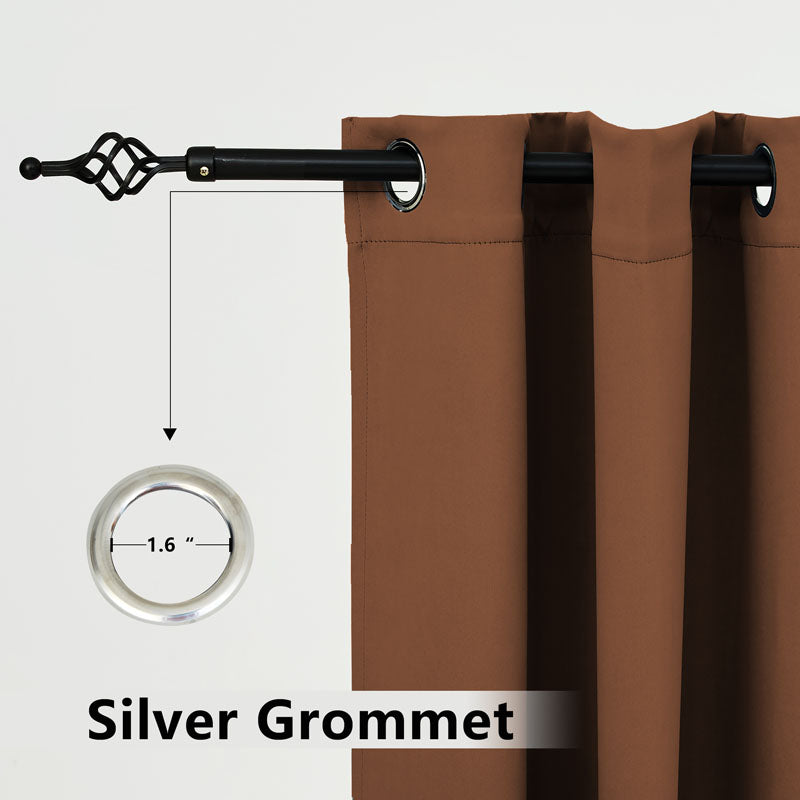Outdoor Waterproof Grommet Top and Bottom Curtains, 1 Pcs - snowcity