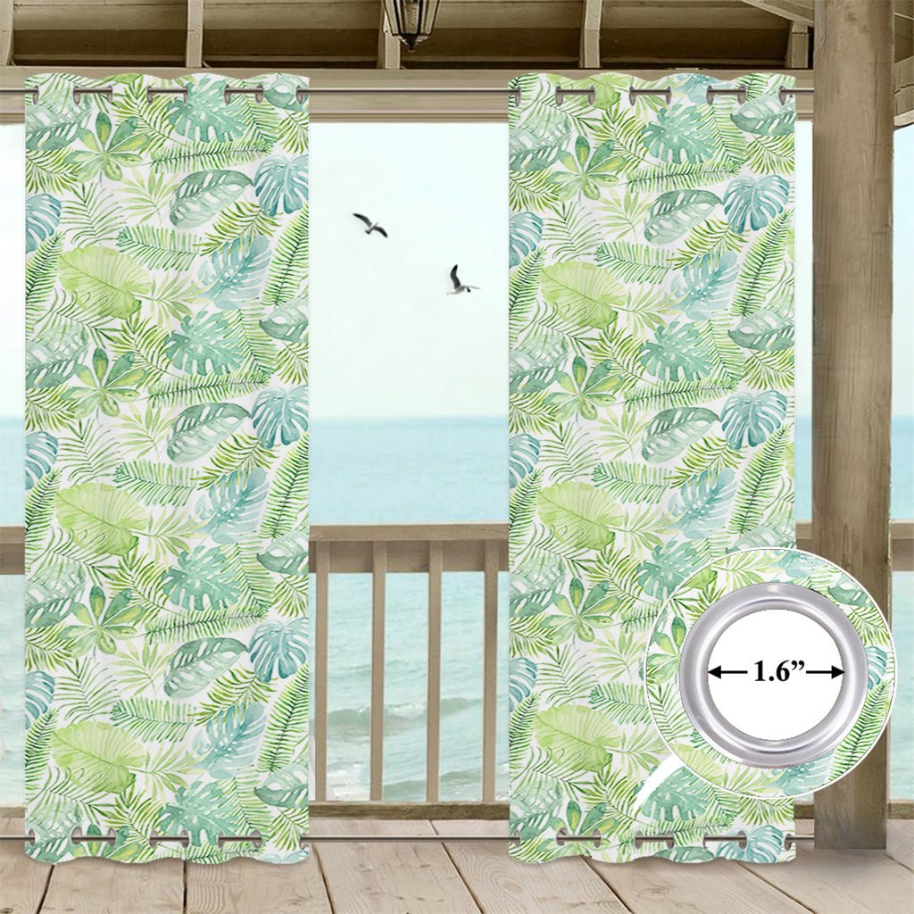 SNOWCITY Banana Leaf Outdoor Waterproof Grommet Top and Bottom Curtains, 1 Panel - snowcity