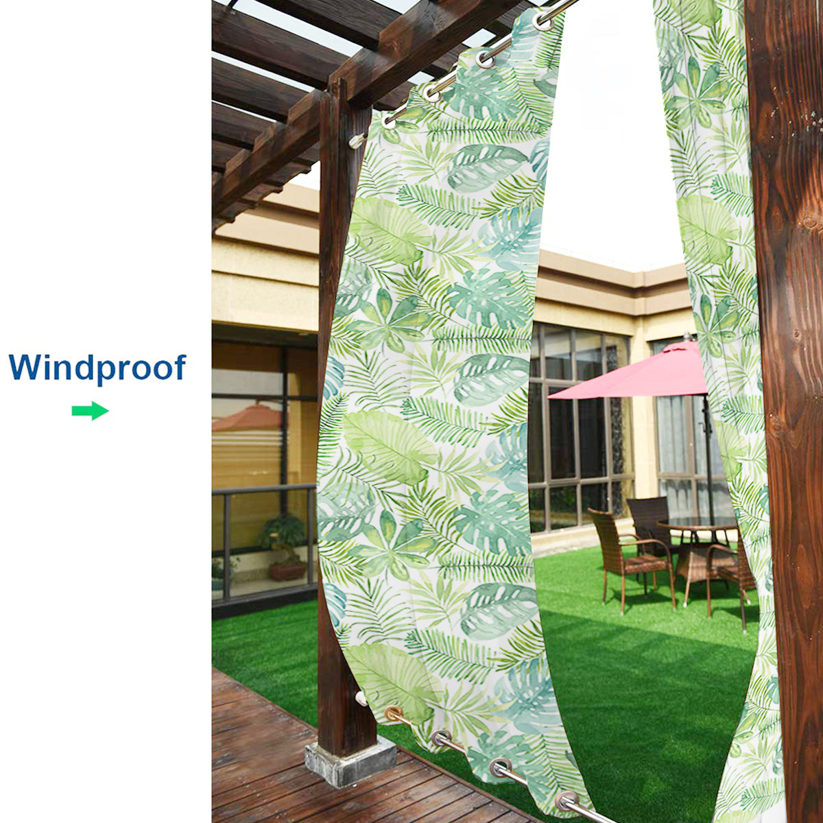 Banana Leaf Outdoor Waterproof Grommet Top and Bottom Curtains, 1 Panel - snowcity