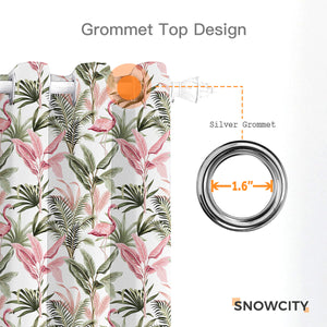 Printing Outdoor Waterproof Grommet Top and Bottom Curtains, 1 Panel - snowcity