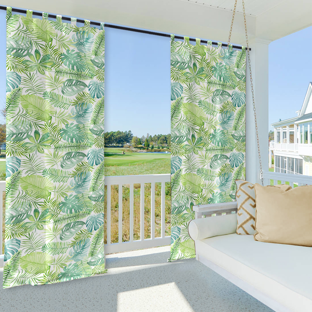 SNOWCITY Banana Leaf Outdoor Waterproof Tap Top Curtains, 1 Panel - snowcity