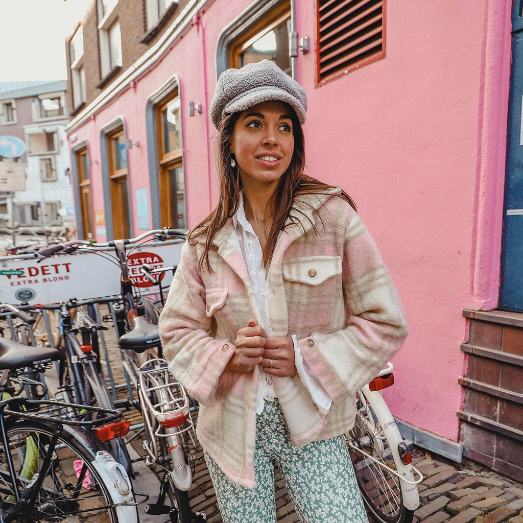 Checked jacket baby pink