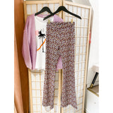 Flared legging bloemen lila