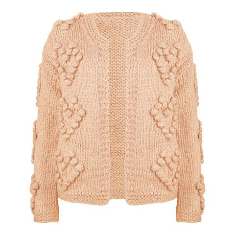 Heart knit fresh pink