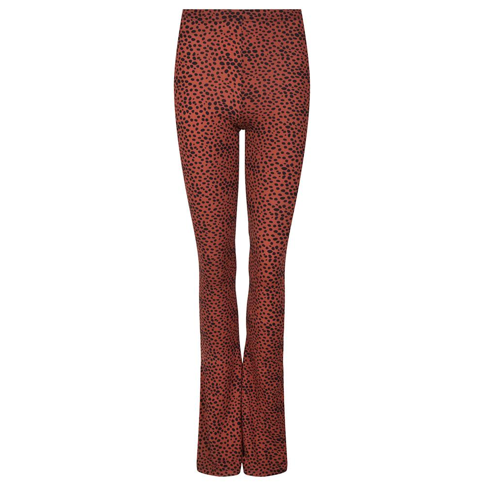 Soft flared legging met stipjes brick