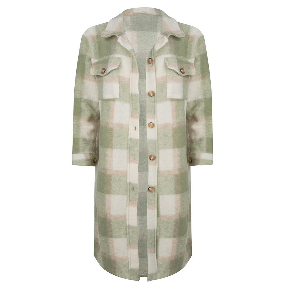 Checked jacket long green