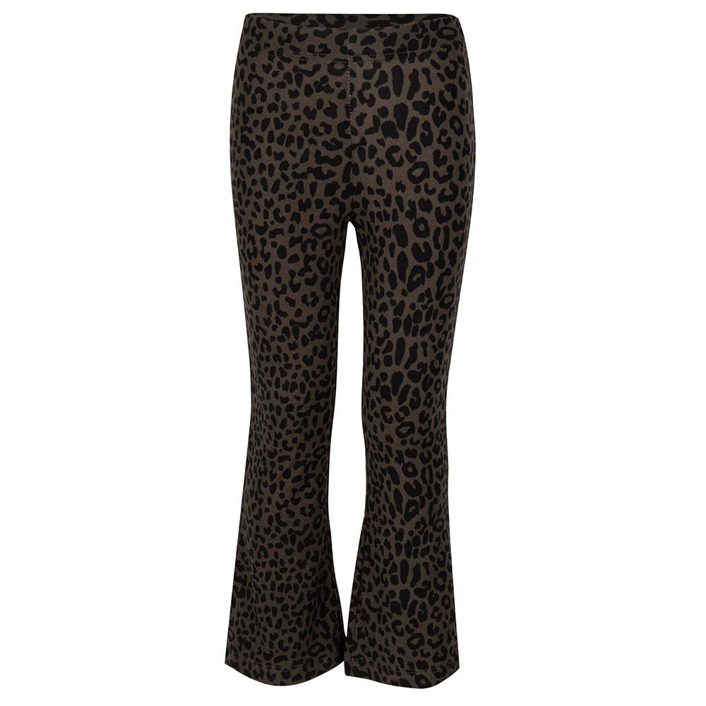 Kinder flared legging Leo army zwart