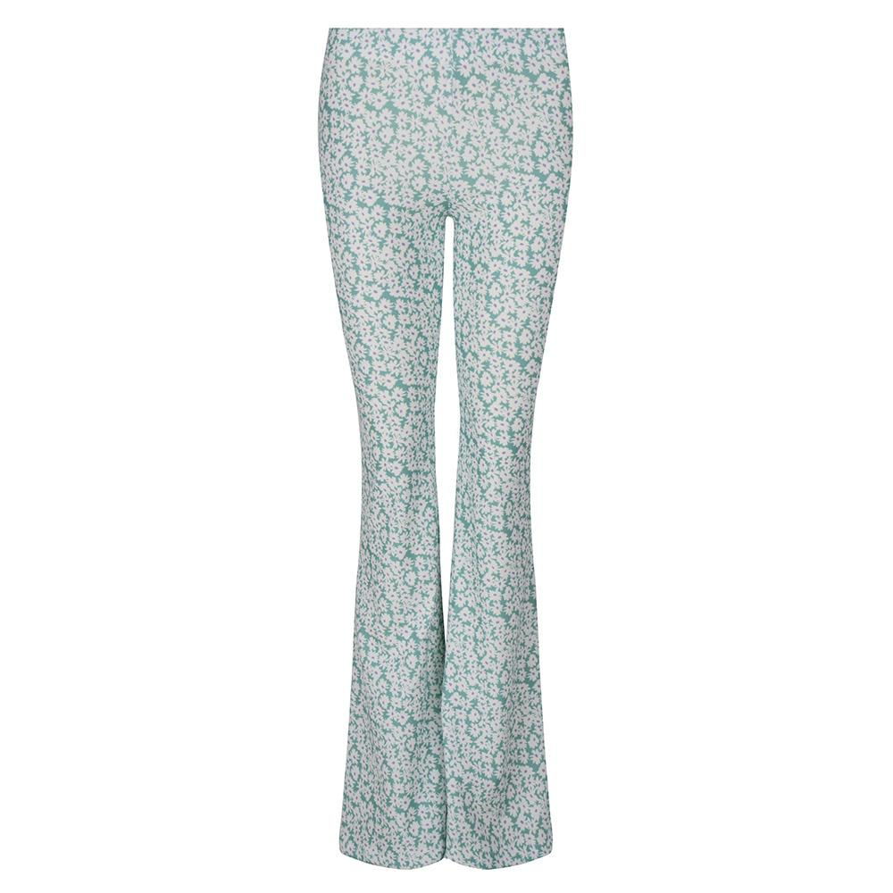 Flared legging bloemen mint