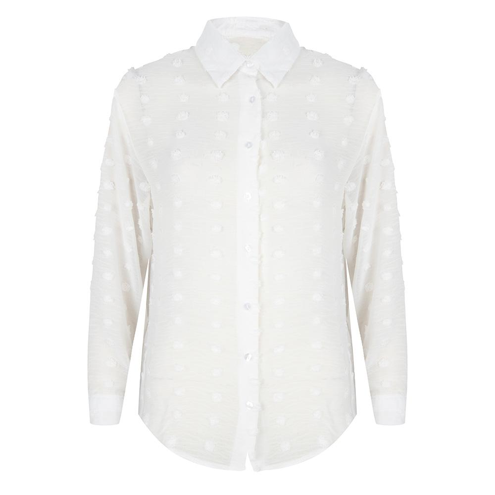 Stippen blouse wit