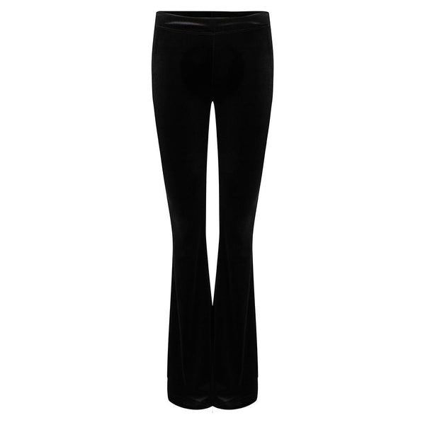 Flared velvet legging zwart