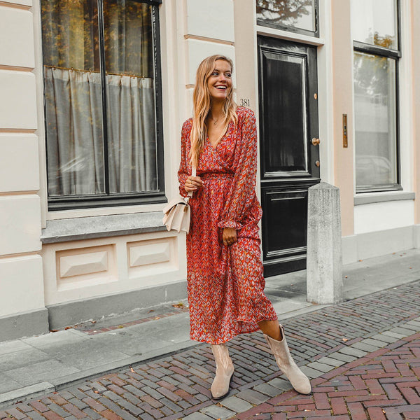 Feather maxi dress