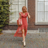 Feather midi dress red