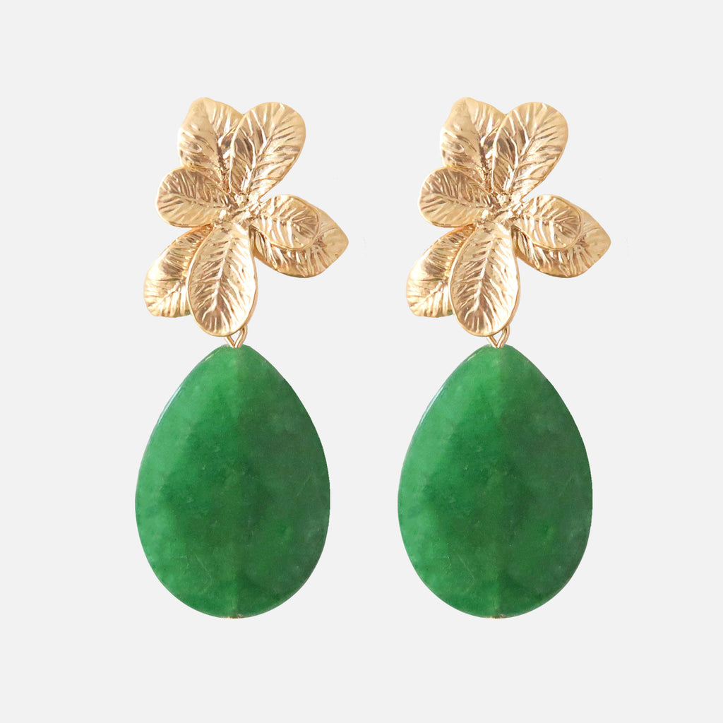 Petit Bonbon statement emerald blossom earrings oorbellen