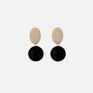 Petit Bonbon leaf black earrings