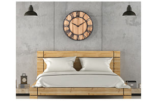 European Vintage Style Solid Wood & Metal Wall Clock