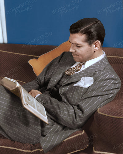 Clark Gable Pinstripe Suit 1938 | Hollywood Pinups | Film Star Colour and B&W Prints