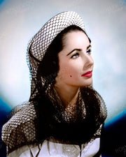 Elizabeth Taylor Fishnet Veil 1947 | Hollywood Pinups | Film Star Colour and B&W Prints
