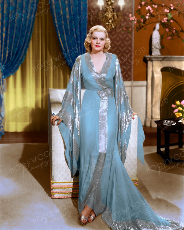 Jean Harlow Chiffon Negligee 1937 | Hollywood Pinups | Film Star Colour and B&W Prints